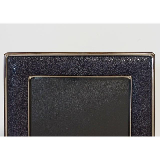 Fabio Ltd Black Shagreen Nickel-Plated Photo Frame For Sale - Image 4 of 7