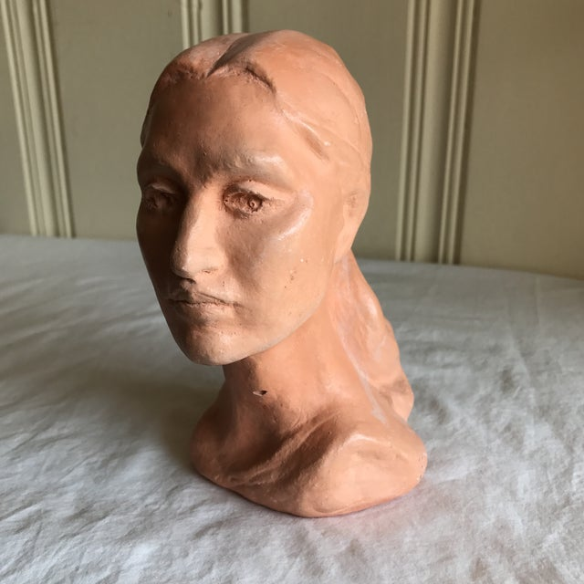 Vintage Artisan Sculpted Female Head Bust For Sale - Image 4 of 11