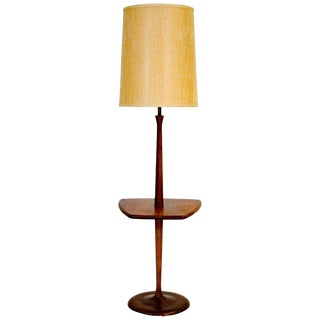 Danish Walnut Floor Lamp With Table For Sale