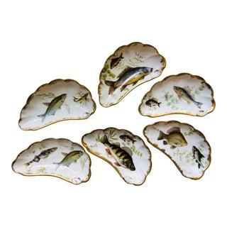 19th Century Antique Limoges Gilt Crescent Fish Plates - a Set of 6 For Sale