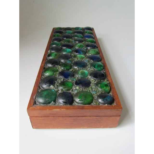 Mid-Century Glass Tiled Wood Box - Image 2 of 10