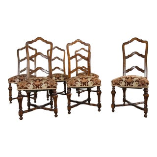 French Louis XIV Style Walnut Ladderback Dining Chairs - Set of 6 For Sale