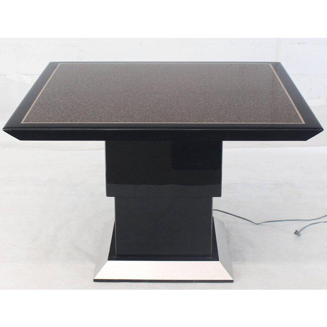 Granite Remote Controlled Hi-Lo Adjustable Height Convertible Coffee Dining Game Table For Sale - Image 7 of 12