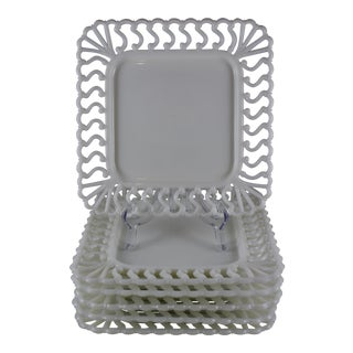 19th C. Eapg Lace Edge Milk Glass Square Dinner Plates, S/6 For Sale
