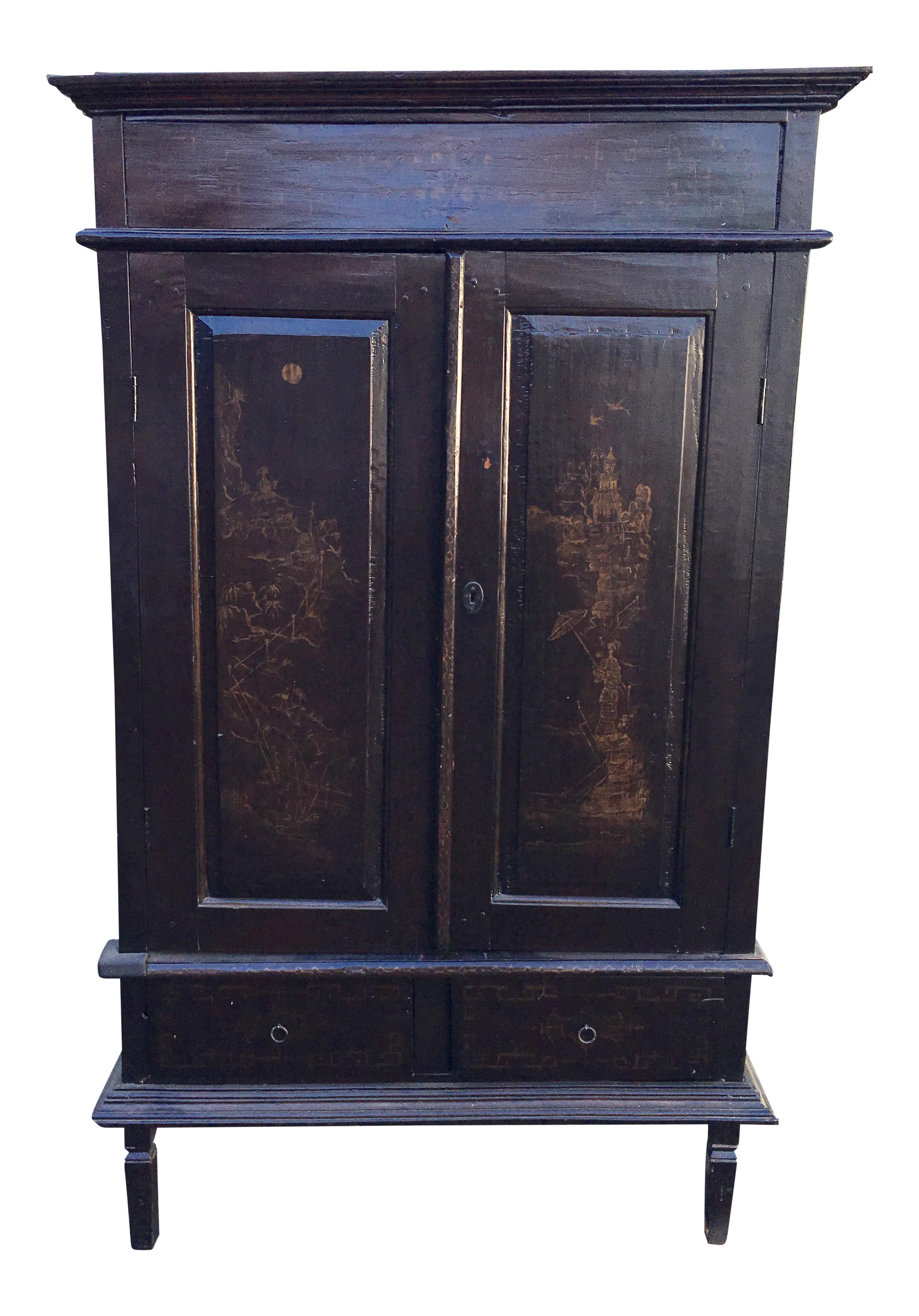 Elegant Chinese Black Chinoiserie Armoire TV Cabinet
