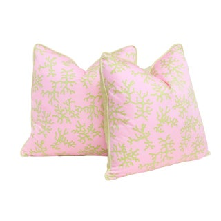 Lilly Pulitzer's Color Me Coral Feather/Down Pillows - a Pair For Sale