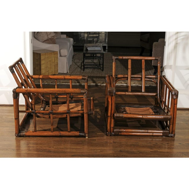 Tan A Warm and Mellow Restored Pair of Cube Loungers by Ficks Reed, Circa 1970 For Sale - Image 8 of 11