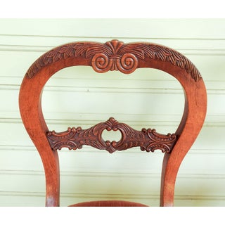 Antique Walnut Hand Carved Velvet Side Chairs - a Pair Preview
