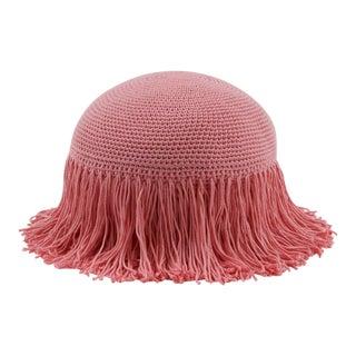 Joni Pink Circular Fringed Pillow For Sale