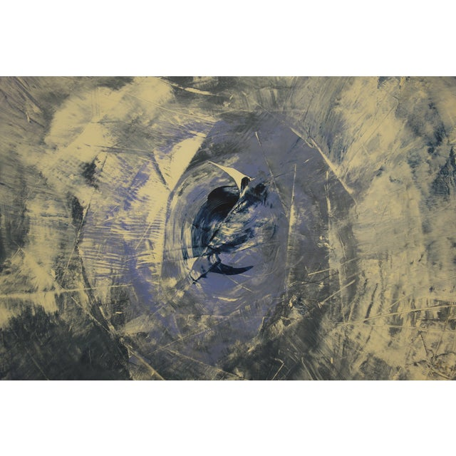 """The Eye"" Blue & White Abstract Painting - Image 3 of 8"