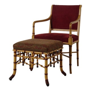 Faux Bamboo Chair and Stool by Hickory Furniture For Sale