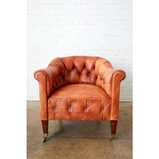 Pair of English Tufted Leather Chesterfield Club Chairs For Sale In San Francisco - Image 6 of 13
