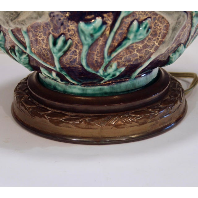 Vintage 1920s Jean Mayodon French Art Deco Gilt Pottery Vase Lamp For Sale In New York - Image 6 of 13