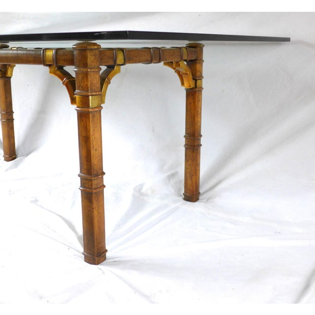 Hollywood Regency Bamboo & Glass Dining Table For Sale - Image 5 of 9