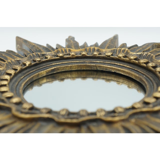 French Golden Gilt Sunburst Mirror For Sale - Image 9 of 12
