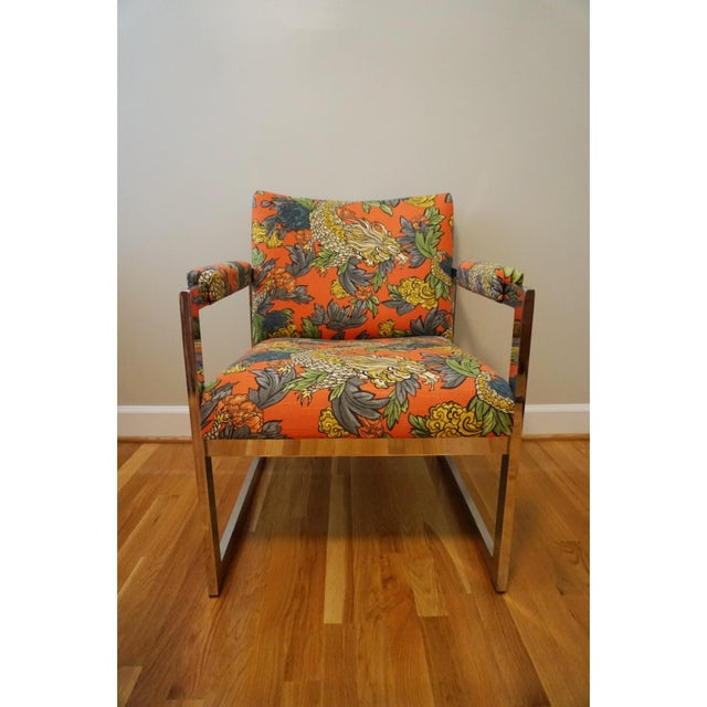 Milo Baughman Style Chrome Chair in Ming Dragon Fabric - Image 3 of 5
