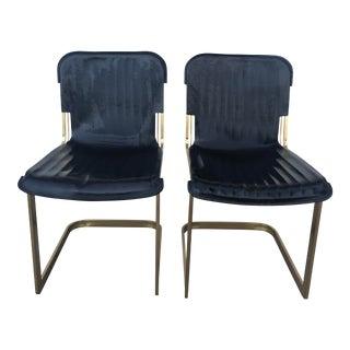 Modern Rake Brass Chairs- A Pair For Sale