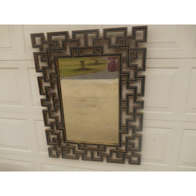 Large Greek Key Gold Gilt Wood Frame Mirror - Image 2 of 5