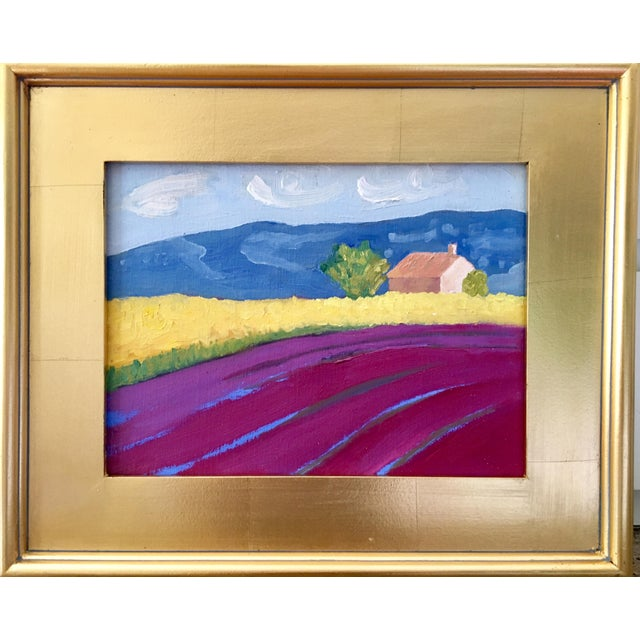 "Abstract Contemporary Landscape Plein Air Oil Painting ""Fields of Lavender"" by Kelly Ayers Sheehan For Sale - Image 3 of 3"