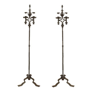 Mid 20th Century French Victorian Wrought Iron Candle Stands-a Pair For Sale