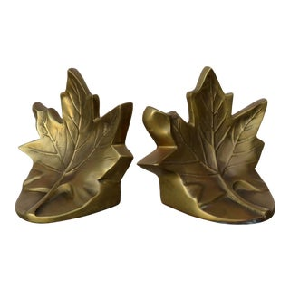 Vintage Maple Leaf Bookends - a Pair For Sale