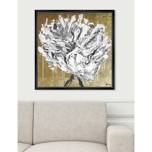 """Contemporary Oliver Gal Large 'Claire Sower - Leave It Behind Gold and White' Framed Art 26"""" x 26"""" For Sale - Image 3 of 6"""
