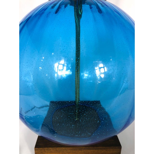Mid 20th Century Danish Mid Century Walnut and Blue Glass Lamps - a Pair For Sale - Image 5 of 9
