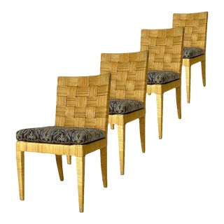 Set of 4 Block Island Wicker Dining Chairs by John Hutton for Donghia For Sale