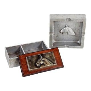 Vintage Equestrian Cast Aluminum Cigarette Box & Ashtray Desk Set by Bruce Fox For Sale