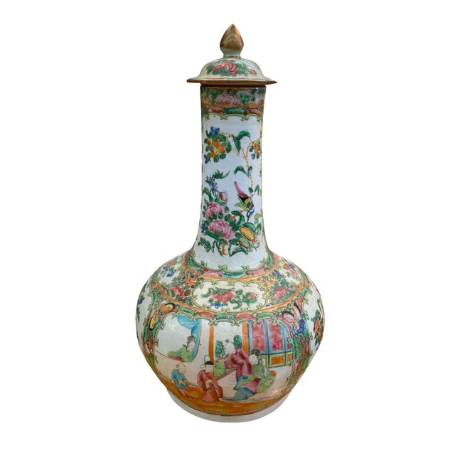 Antique Rose Medallion Bottle Lidded Vase For Sale In Dallas - Image 6 of 6