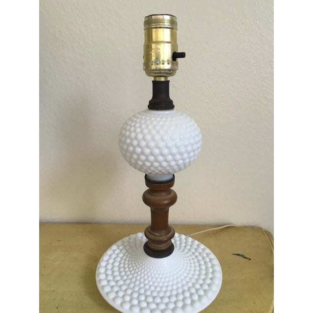 Mid-Century Wood & Hobnail Milk Glass Lamps - Pair For Sale - Image 7 of 10