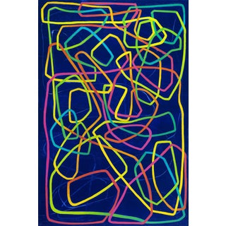 Paula Cahill Cartouche II Blue With Multi Color Linear Painting For Sale