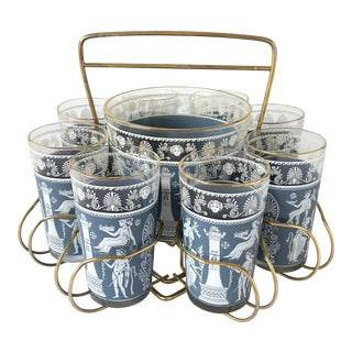 Hellenic Grecian Wedgewood Blue Cocktail Glasses, Ice Bucket and Caddy - Set of 10 For Sale