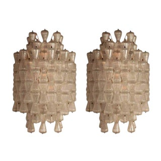 Magnificent Pair of Large Barovier & Toso Glass Sconces, Circa 1970 For Sale