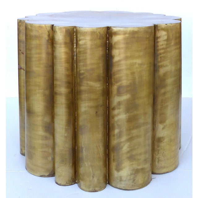 Scalloped Brass Finish Side Tables - a Pair - Image 4 of 11