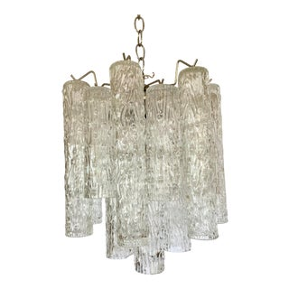 Vintage Mid Century Tubular Murano Glass Chandelier For Sale