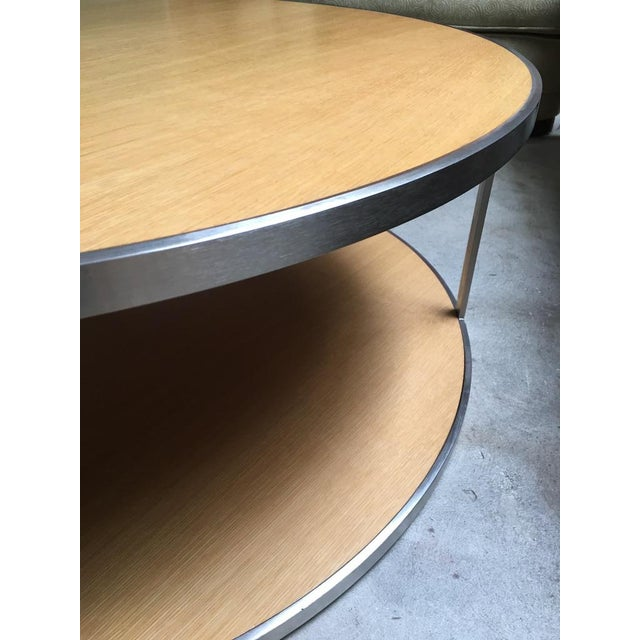 Circular Modern Stainless Steel and Oak Coffee Table For Sale - Image 4 of 11