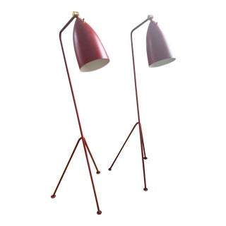 Mid-Century Modern Red Grasshopper Floor Lamps - a Pair For Sale