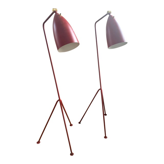 Mid-Century Modern Red Grasshopper Floor Lamps - Sold Separately For Sale