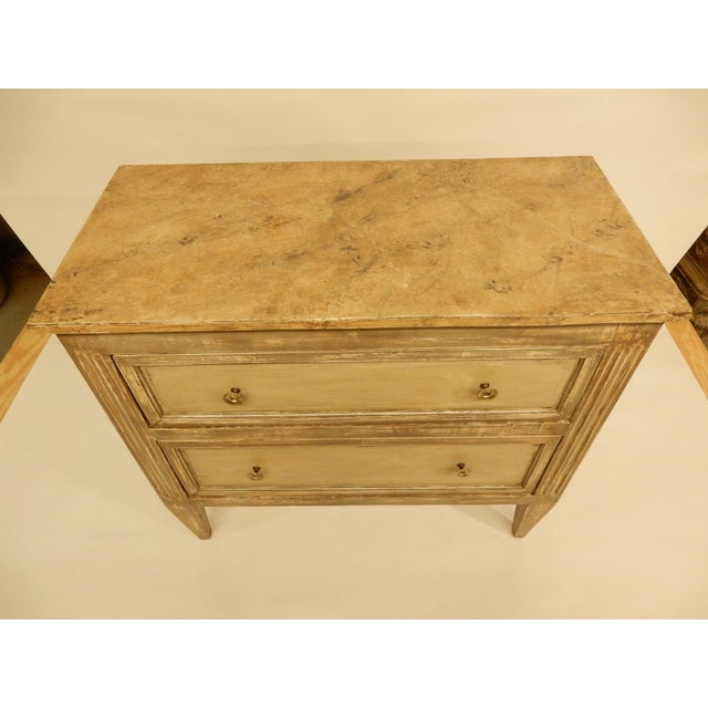 Vintage painted Louis XVI style two drawer French commode. 1940's-1950's.