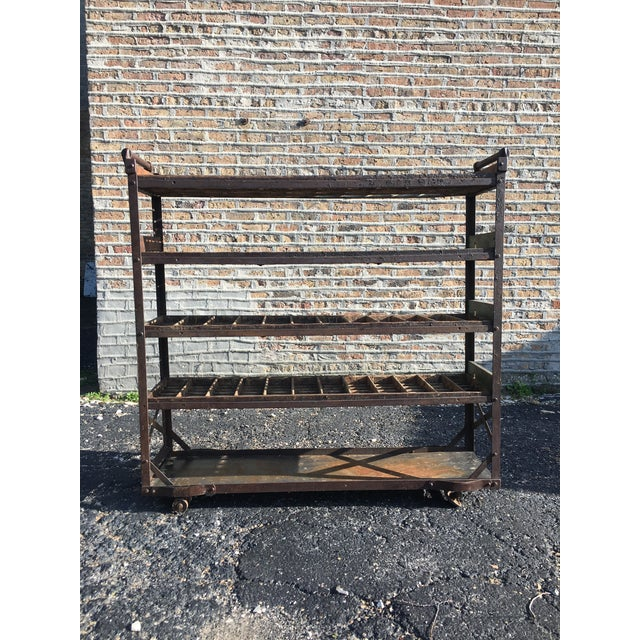 Industrial Antique Industrial Rolling Cart With Shelves For Sale - Image 3 of 13