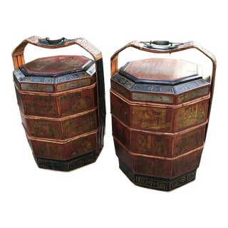 19th Century Chinese Paint Decorated Wedding Boxes - a Pair For Sale