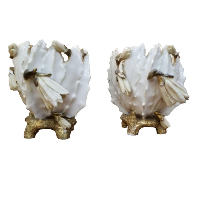 19th Century 19th Century French Porcelain Cache Pots - a Pair For Sale - Image 5 of 7