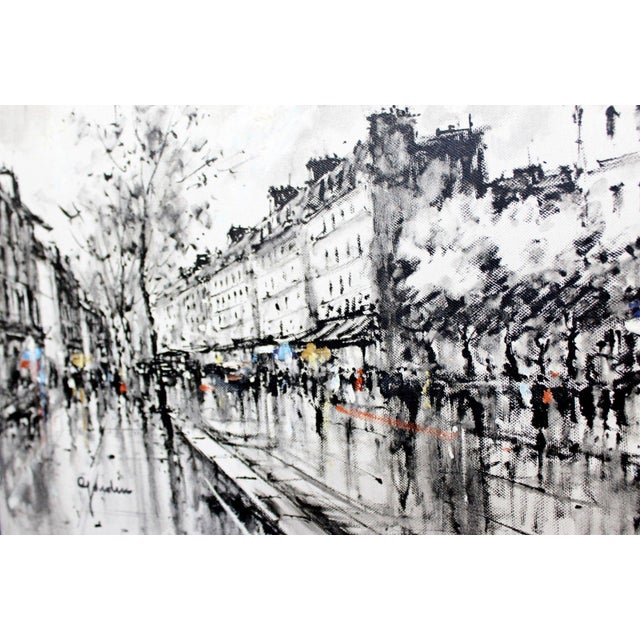 Mid-Century Modern Framed Paris Street Scene Oil Painting on Canvas Signed For Sale - Image 9 of 11