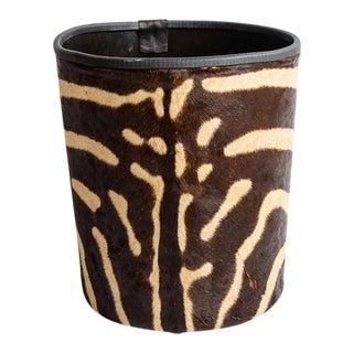 Antique Zebra Hide Large Wastebasket, C1940 For Sale