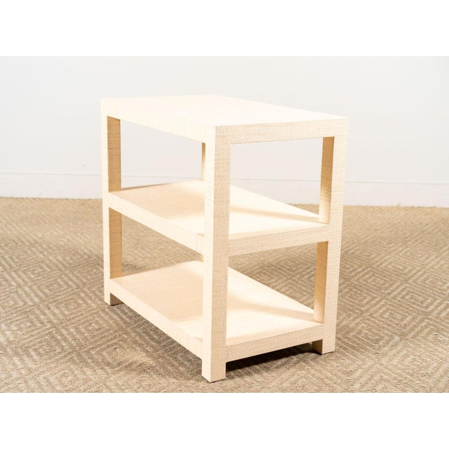 2010s Modern Grasscloth Side Table For Sale - Image 5 of 6