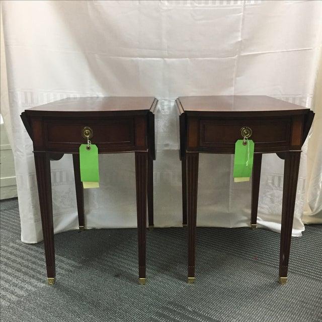 Brown Baker Drop Leaf Side Tables - Pair For Sale - Image 8 of 8