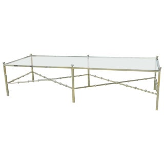 Mid-Century Faux Bamboo Chrome Coffee Table For Sale