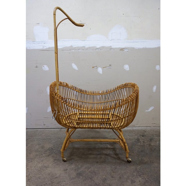 1950s Vintage Franco Albini Style Bamboo Cradle For Sale - Image 12 of 12