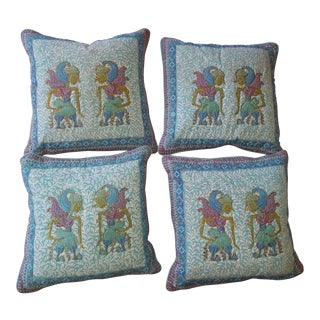 Vintage South Asian Themed Silk Pillows - Set of Four